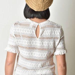 H&M Boho Crochet Fringed Off-White Top